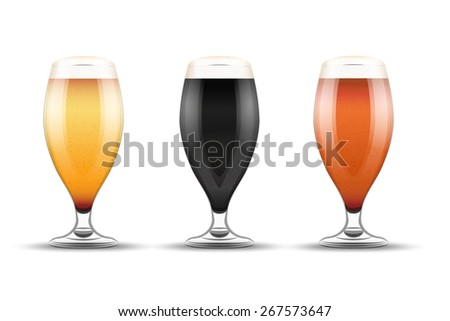 Beer mugs with three kind of beers. Lager, Porter and Ale.  Illustration isolated on white background.