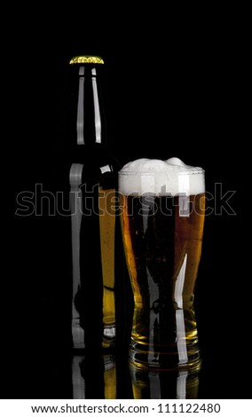 beer on a black background - stock photo