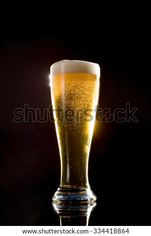 Beer on black background
