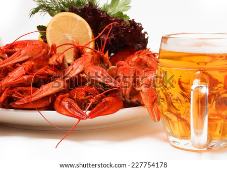 Beer. Plate with red boiled crayfish and herbs - stock photo