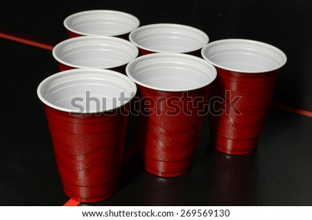 Beer Pong set up - stock photo