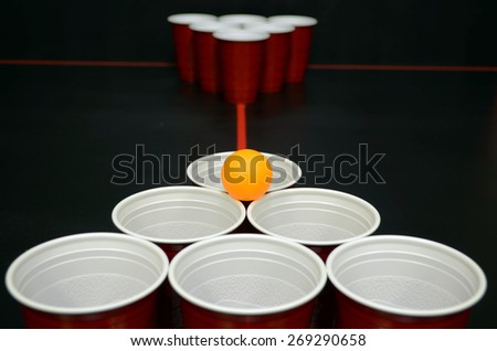 Beer Pong Set up and ready to go - stock photo