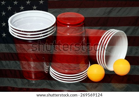 Beer Pong with U.S. Flag - stock photo