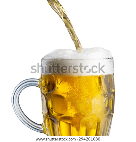 Beer Pour from Machine to Glass - stock photo