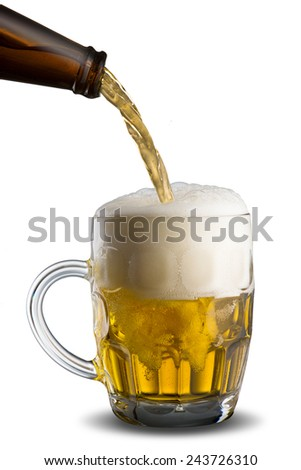 Beer Pour into Glass - stock photo