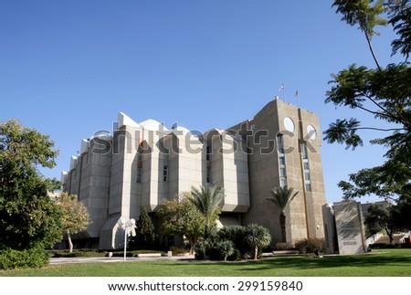 BEER SHEVA, ISRAEL - DECEMBER 29, 2012: Library housing Ben Gurion University in Beer Sheva - stock photo