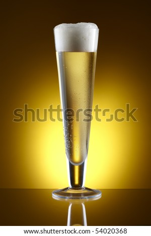 Beer shot in Pilsner glass with amber background and space for copy