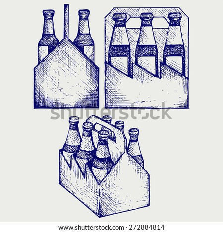 Beer six pack in three boxes. Doodle style. Raster version - stock photo