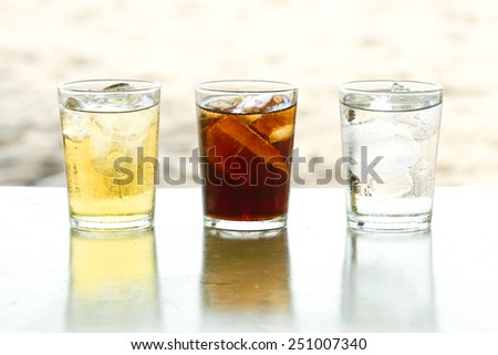 Beer, soda, water, drinks a threat to health. And have a drink to good health - stock photo