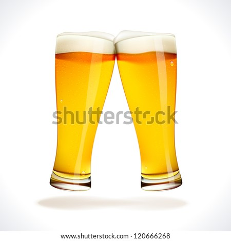 Beer splashing, two glasses  isolated on white - stock photo