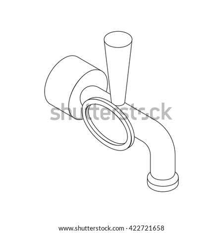 Beer tap icon, isometric 3d style - stock photo
