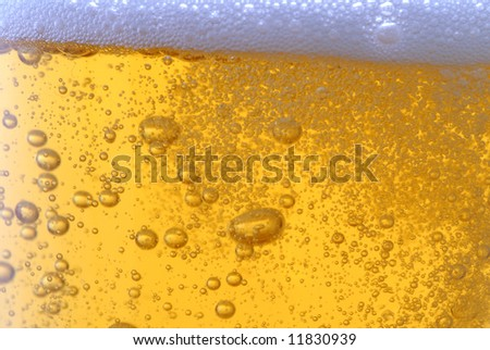 beer with bubbles close up - stock photo