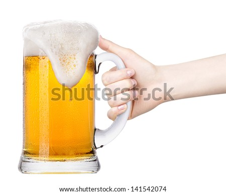 beer with  hand making toast isolated on a white background