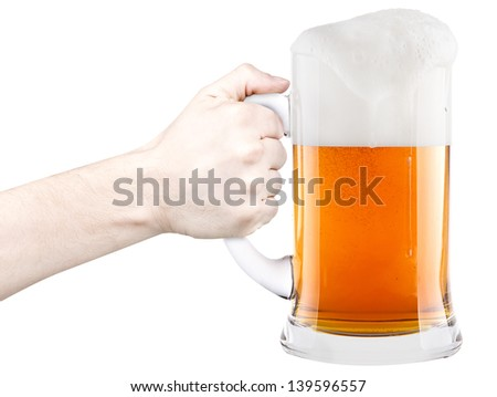 beer with man hand making toast isolated on a white background