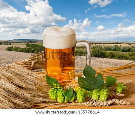 beer with raw material for beer production - stock photo