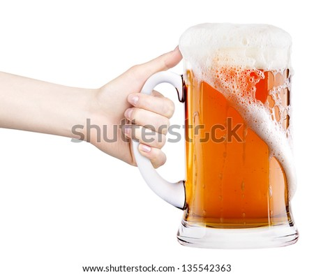 beer with woman hand making toast isolated