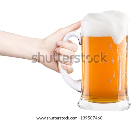 beer with woman hand making toast isolated on a white background