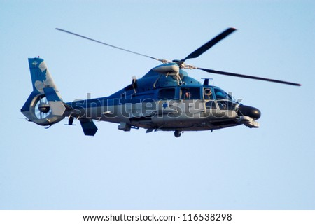 BEERSHEBA-JUNE 28: Eurocopter AS565 Panther fly above Hatzerim Air Force base in Beersheba, Israel on June 28, 2007.Among It's roles: anti-submarine warfare, search and rescue and medical evacuation. - stock photo