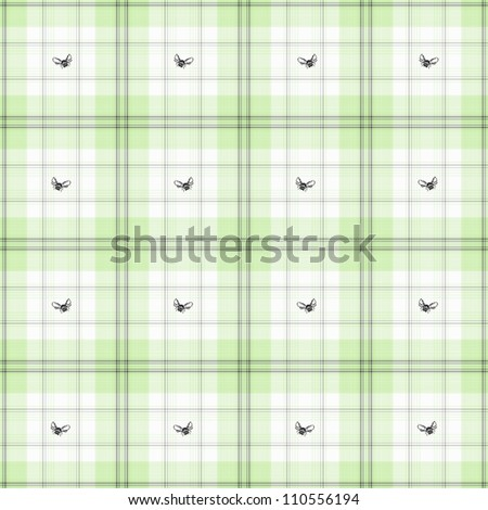 Bees & Mint Green Plaid - stock photo