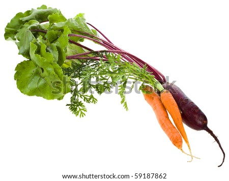 Beet , beetroot wish carrot isolated on white - stock photo