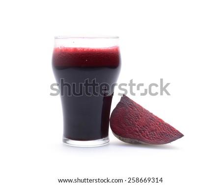 Beet vegetable juice on white background - stock photo