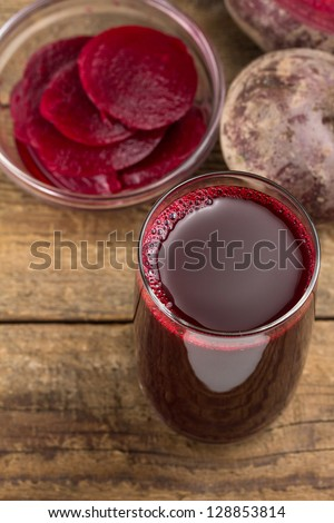 Beetroot and beetroot juice - stock photo