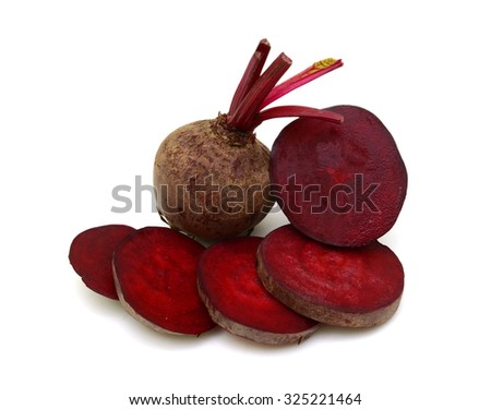 Beetroot cube slice closeup isolated on white background