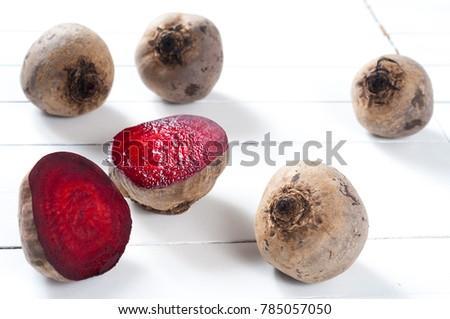 beetroot in white wood table