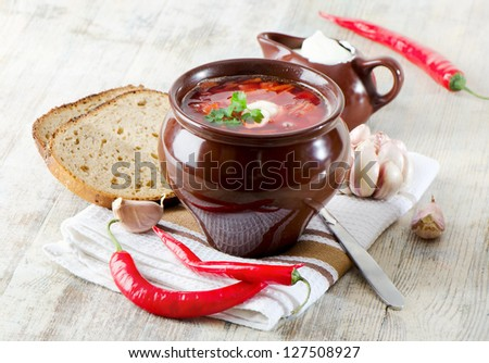 beetroot soup on a wooden table