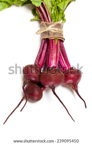 Beetroots on white background. Selective focus. - stock photo