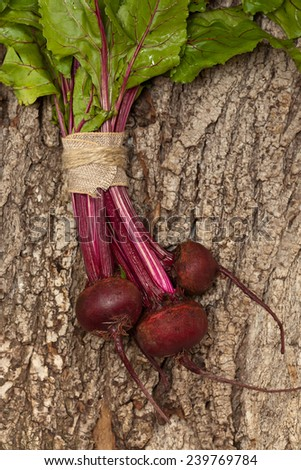 Beetroots On Wooden Background. Selective focus. - stock photo