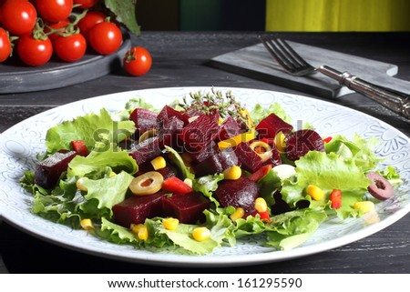 beets salad green background