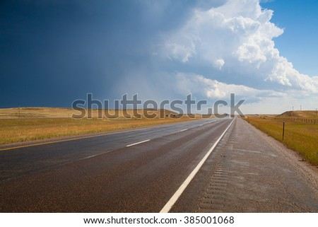 Before a big storm on the prairie in Wyoming in USA - stock photo