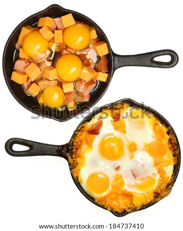 Before After Baked Eggs and Sausage with Cheese in Skillets Over White. - stock photo