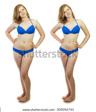 Before and after a diet concept. Young woman wearing blue swimsuit, studio portrait isolated on white background