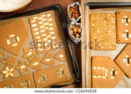 Before and after baking gingerbread cookies with nuts