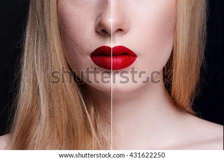 Before and after cosmetic operation. Young pretty woman portrait, isolated on a white background. Before and after cosmetic or plastic procedure, anti-age therapy - stock photo