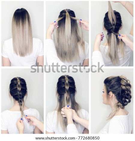 Before After Hairstyle Tutorial Hairdresser Making Stock Photo ...