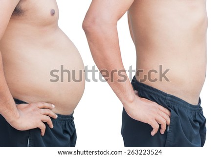 before and after man fat and slim body - stock photo