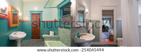 Before and After photo of bathroom area with new paint job, appliances. - stock photo