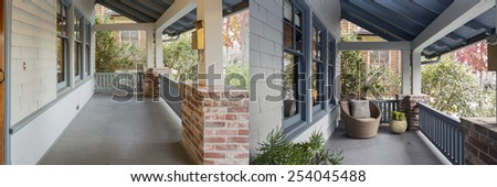 Before and After photo of Entrance column, porch area with new paint job and staging. - stock photo