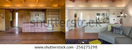 Before and After photo of living room interior with hardwood floor and book shelf. Couch with hand-woven natural colored fine sisal rug open space living room within nature. - stock photo
