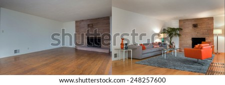 Before and After photo of living room interior with hardwood floor and fire place. Couch with hand-woven natural colored fine sisal rug open space living room within nature. - stock photo