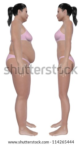 Before and after side view illustration of a overweight female and a healthy weight female after dieting and exercising. Isolated on a solid white background. - stock photo