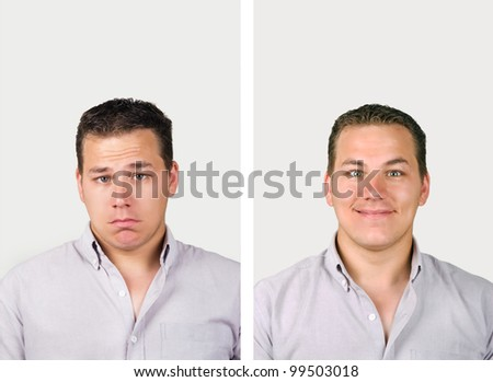 Before and after, unhappy man becomes very happy man - stock photo