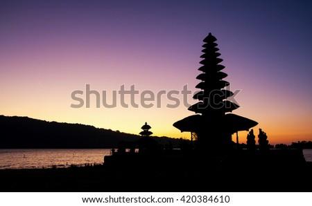 Before sunrise at Pura Ulun Danu Bratan temple on Bali, Indonesia - stock photo