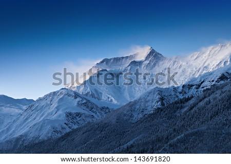 Before sunrise in Annapurna mountains, Himalaya region, Nepal - stock photo
