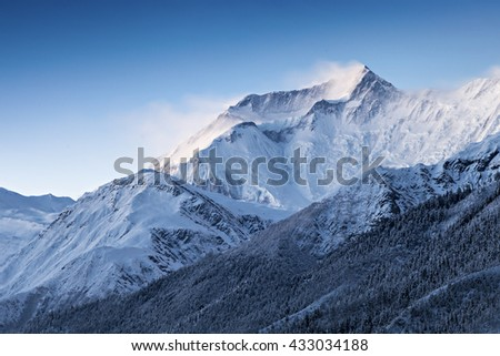 Before sunrise in Annapurna mountains, Himalaya region, Nepal - stock photo