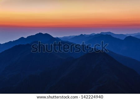 before sunrise in Fagaras Mountains, Southern Carpathians, Romania