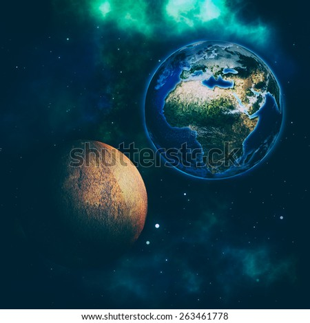 Before the impact, abstract space backgrounds. NASA imagery used - stock photo